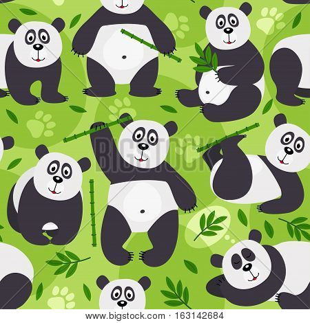 seamless pattern panda bear - vector illustration, eps