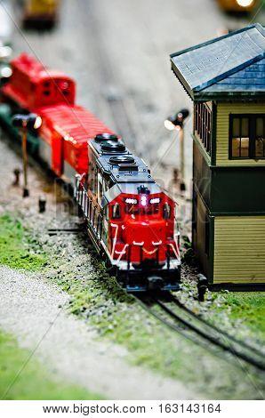 miniature toy model train locomotives on display