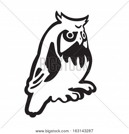Stylized owl. Black and white vector isolated.