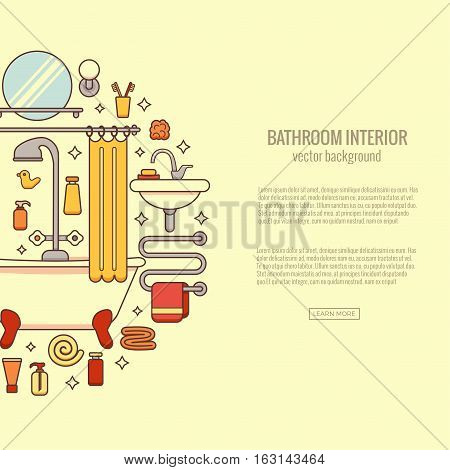 Bath equipment colorful concept . Card or poster template with flat  outline symbols of mirror, bath, toilet, sink, shower. Vector illustration for web sites, shops or bathroom interior designs.