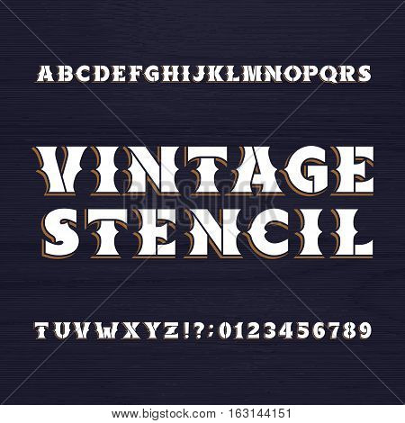Vintage stencil typeface. Retro alphabet font on a wooden background. Wild west bold letters and numbers. Vector typeset for labels, headlines, posters etc.