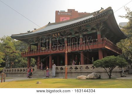 SEOUL SOUTH KOREA - OCTOBER 20, 2016: Bosingak Belfry bell ceremony at Bosingak temple. Bosingak Belfry was used during the Joseon Dynasty to keep the time
