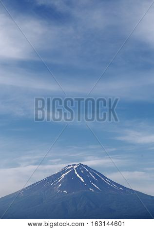 Volcano Mountain inside many cloudy Blue sky around in the nice day and lake front side. Travel Concepts