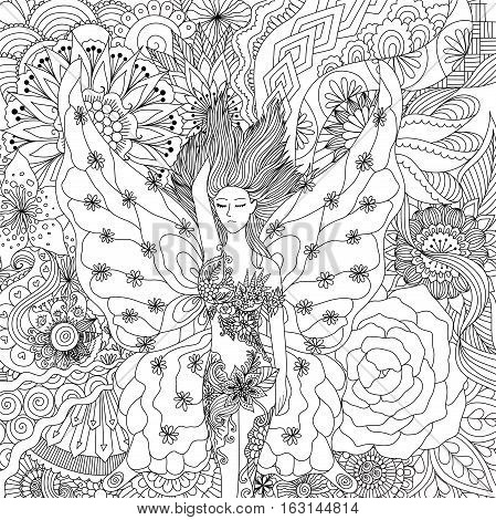 Beautiful fairy sleeping on flowers for adult coloring book