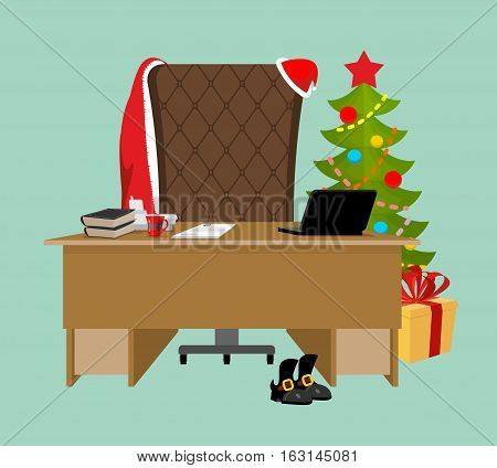 Empty Office Santa. Claus Workstation. After Work. Table And Fir-tree. Laptop And Phone. End Of Chri