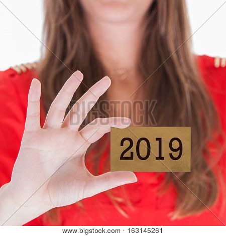 Woman Showing A Business Card - 2019