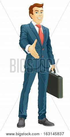 Smiling businessman gives a hand for a handshake. Businessman gives a hand for the welcome. Vector illustration.