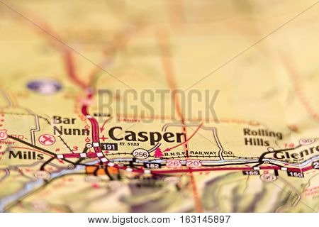 casper wyoming usa area on a map
