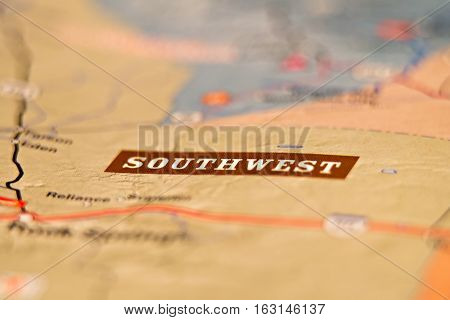 southwest america location area on a map