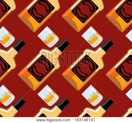 Bottle Scotch Seamless Pattern. Glass Of Whiskey And Ice Ornament. Bourbon Background. Drink Backdro