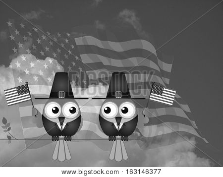 Monochrome U.S. flag waving, with Thanksgiving birds sitting on a tree branch against a cloudy sky