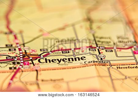 city of cheyenne wyoming area on a map