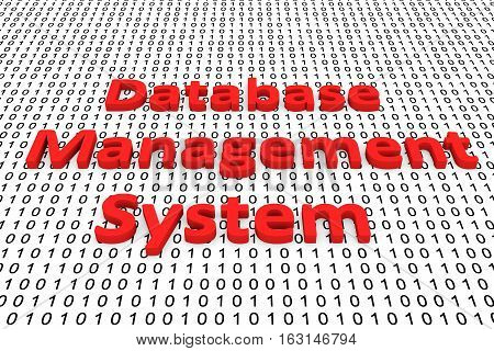Database management system in the form of binary code, 3D illustration