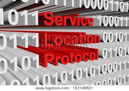 Service Location Protocol in the form of binary code, 3D illustration