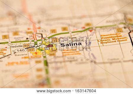 salina city in kansas area on a map