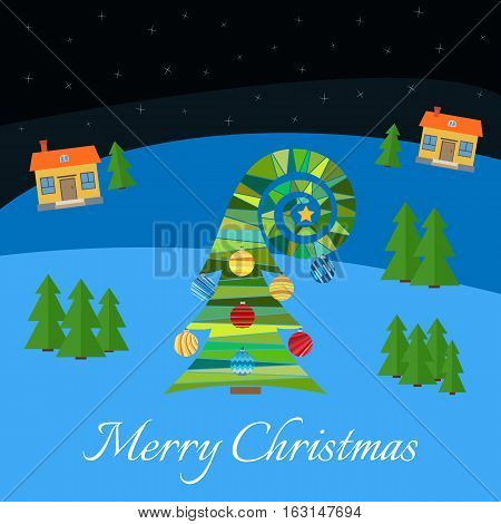 Christmas tree with multi-colored toys. Christmas tree in the village at night. Starry night sky in the village in winter.