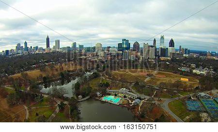 aerial over atlanta georgia city skyline and city park