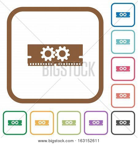 Memory optimization simple icons in color rounded square frames on white background