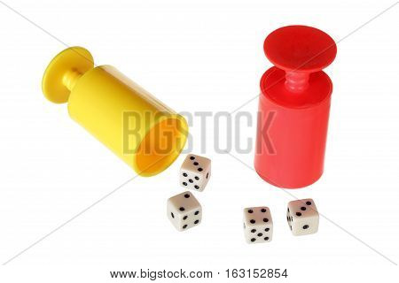 Dice and Dice Cups on White Background