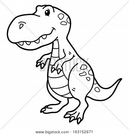 Vector illustration of cute cartoon dinosaur character for children, coloring and scrap book