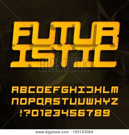 Futuristic decorative alphabet typeface. Oblique type letters and numbers on a polygonal background. Vector font. Typography for headlines, posters, etc.
