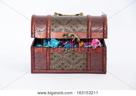 Treasure Box Chest Full Of Bonbons, Half Opened