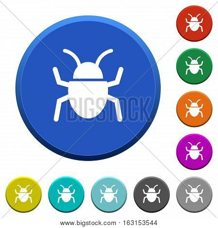 Bug round color beveled buttons with smooth surfaces and flat white icons