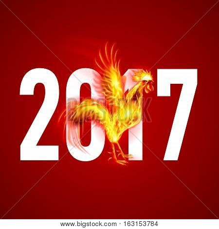 Silhouette of Head Red Cock. Fire Rooster Symbolr. Christmas Card New Years design on Red