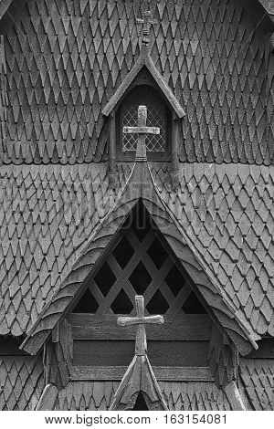 Traditional norwegian stave church detail. Borgund. Travel Norway. Tourism highlight