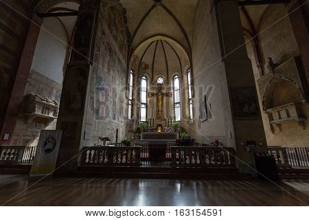 PADUA, ITALY - MAY 3, 2016: The Church of the Eremitani is an Augustinian church of the 13th century. Padua Italy
