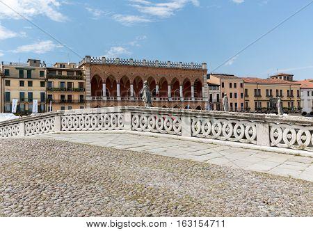 PADUA, ITALY - MAY 3, 2016: Bridge on Piazza Prato della Valle Padua Italy.