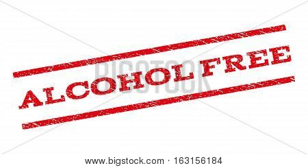 Alcohol Free watermark stamp. Text caption between parallel lines with grunge design style. Rubber seal stamp with unclean texture. Vector red color ink imprint on a white background.