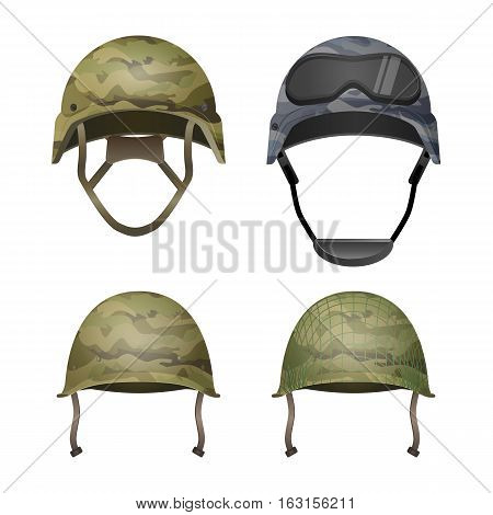 Set of military camouflage helmets in khaki camo colors. Classical, with goggles, combat and with projection lines. Different types of army headgear. Protective head cover element. Paintball. Vector