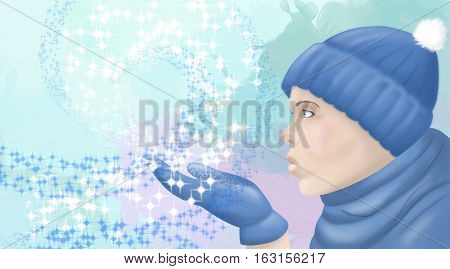 illustration of a woman in a hat and scarf blowing on snowflakes