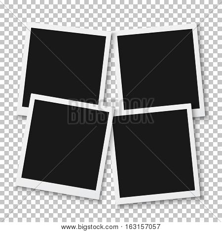 Illustration of Vector Instant Photo. Blank Vintage Photo Frame Mockup. Photorealistic Vector EPS10 Retro Photo Frame Mockup