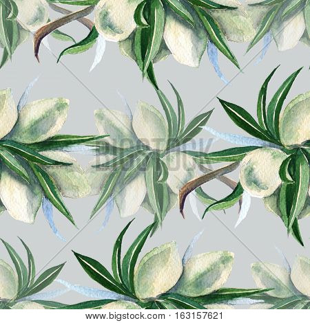 Background of the branches of the almonds. Seamless pattern. Pattern for fabric. Watercolor illustration.