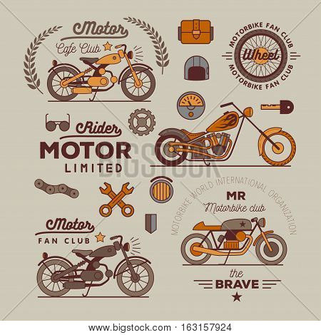 motorbike badget set, isolated vector logo illustration.