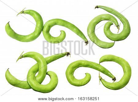 Fresh Broad Beans on Isolated White Background