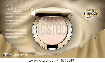 Luxury Cosmetics blush ads, . Golden cheek blush compact on silk background, Realistic 3d Vector illustration
