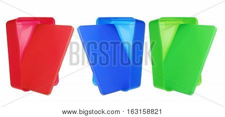 Plastic Colored Lunch Boxes on White Background
