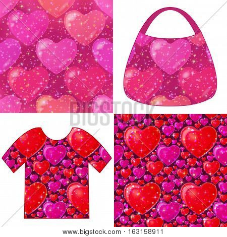 Set of Valentine Holiday Seamless Backgrounds, Colorful Tile Patterns with Hearts, Sparks, Confetti and Examples in Form of Shirt and Ladies Handbag. Eps10, Contains Transparencies. Vector