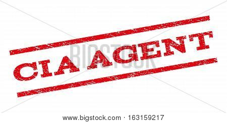 CIA Agent watermark stamp. Text tag between parallel lines with grunge design style. Rubber seal stamp with unclean texture. Vector red color ink imprint on a white background.