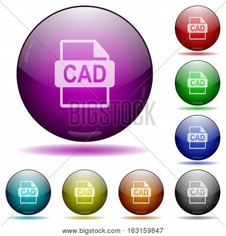 CAD file format icons in color glass sphere buttons with shadows