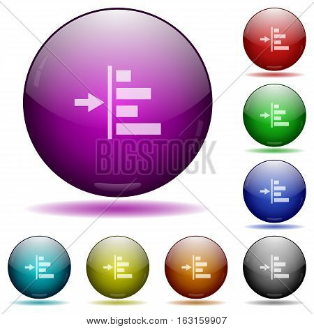 Increase left indent icons in color glass sphere buttons with shadows