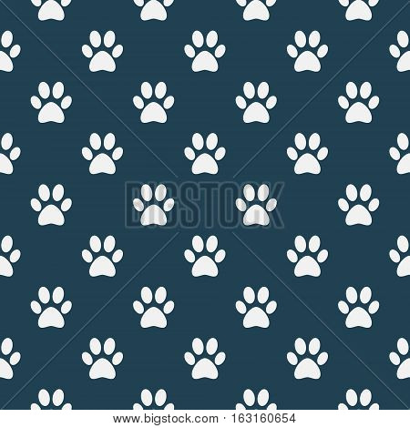 Cat of dog paw pattern - vector seamless texture made with white paws on blue background