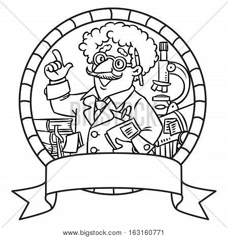 Coloring picture of funny scientist or inventor. A man in glasses and suit with books, folders, microscope and telescope raised index finger. Profession series. Childrens vector illustration. Emblem