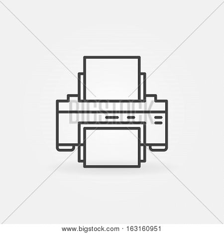 Printer line icon. Vector thin line printing printer concept symbol or logo element in thin line style