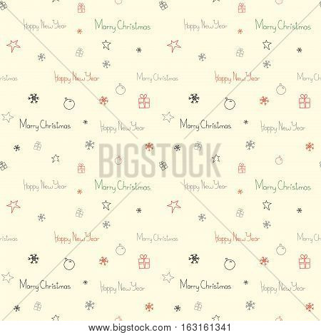 Christmas and New Year seamless pattern, background