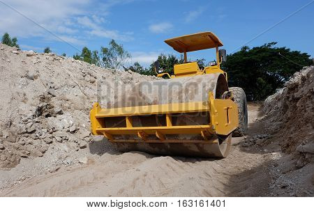 Soil compaction work yellow Construction sites, construction