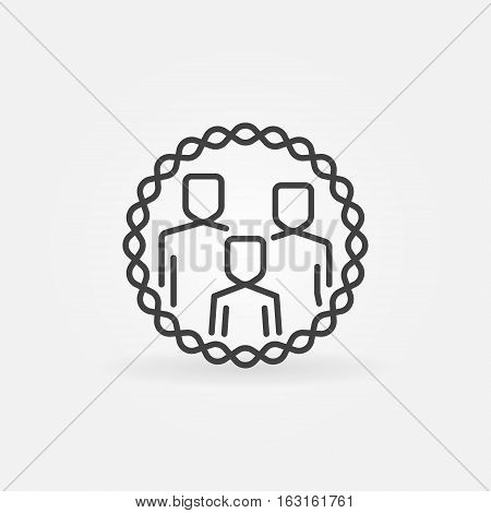 Family outline badge. Vector minimal happy family concept emblem or sign in thin line style